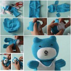 Verschiedene Tiere aus Socken basteln - Anleitung-dekoking-com-10