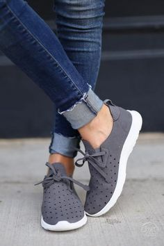 Goody Two Shoes Sneakers - trendy grey laser cutout sneakers, front, Closet Candy Boutique