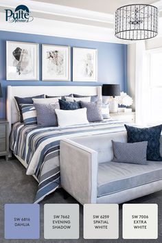 On trend for winter: A bedroom with a beautiful case of the blues! Accents and decor dressed in cream and cool blue hues create a serene space for you to rest and relax.   Pulte Homes