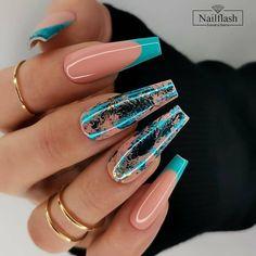Gorgeous Nails, Pretty Nails, Foil Nail Designs, Lemon Nails, Glow Nails, Nail Tattoo, Pink Acrylic Nails, Fire Nails, Nagel Gel