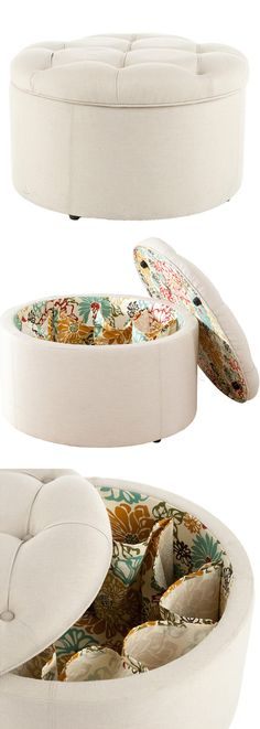 Shoe storage ottoman // ahem... I know someone who needs this! #product_design #home #organization