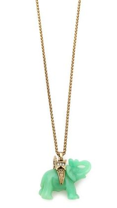 Kenneth Jay Lane Jade Elephant Necklace