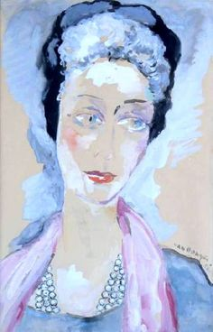 Kees van Dongen - Madame Buisset-Delset, 1956. Gouache enhanced with watercolor on paper, 48 x 31 cm. Private Collection