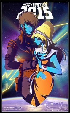 Shep and Stella from Interstella5555 (Daft Punk) by TholiaArt << Can I have this on a poster please? :)