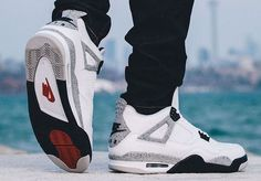 half off 0ad3d e983b Air Jordan 4 Retro 89 White Cement Releasing 2016 with the original Nike Air  on the