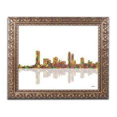 Trademark Fine Art Milwaukee Wisconsin Skyline Canvas Art by Marlene Watson Gold Ornate Frame, Size: 16 x 20, Multicolor