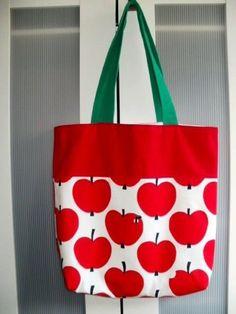 Tasche, Shopper, Einkaufstasche, Umhängetasche, Äpfel, selbst genäht, Unikat