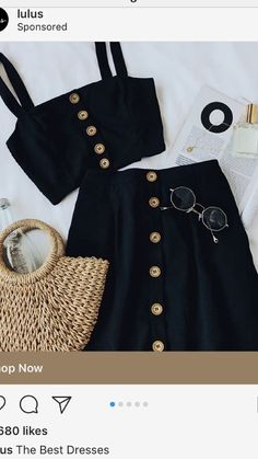 Surely there isn't a sweeter treat than the Sweet as Ever Black Two-Piece Midi Dress! Two-piece dress with a button-front crop top and midi skirt. Mode Outfits, Casual Outfits, Fashion Outfits, Womens Fashion, Fashion Clothes, Latest Fashion, Fashion Ideas, Fashion Trends, Inspiration Mode