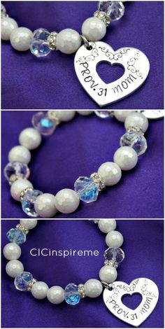 Prov 31 #Mom white pearl heart cut out scripture hand stamped bracelet $32 #Christianjewelry #religiousjewelry