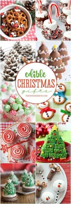 Christmas Treats tha Christmas Treats that you can eat! - These Christmas Recipes are perfect for Edible Gifts. Share them with your family neighbors and friends or make them for Christmas Parties. These Christmas desserts are yummy easy and adorable! Edible Christmas Gifts, Christmas Snacks, Xmas Food, Christmas Cooking, Christmas Goodies, Holiday Treats, Holiday Recipes, Christmas Holidays, Christmas Parties
