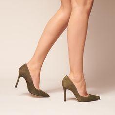 Fern Khaki Suede Courts | Shoes | L.K.Bennett Capsule Wardrobe Essentials, Leather Trousers, Green Suede, Court Shoes, Soft Suede, Suede Heels, Ferns, Your Style, Kitten Heels