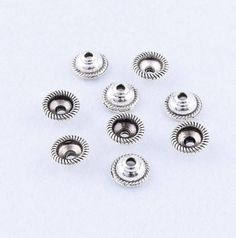 Silver End Bead Caps 8mm End Cap Bead Caps, Jewelry Supplies, Beading Supplies, 15 pcs, USA Seller, by JewelrySupplyFinds on Etsy