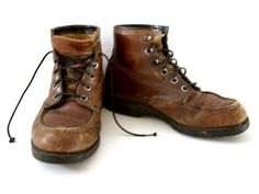 Vintage 50s 60s Brown Leather Work Boots  by aVintageVagrant