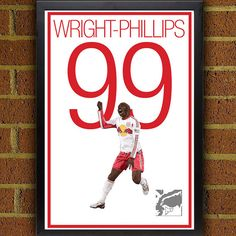 Bradley Wright-Phillips 99 New York Red Bulls Poster #soccer #football #homedecor #g17 #futbol #decor #art #print #poster