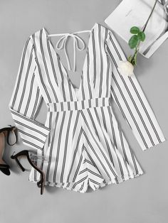 Deep V Neckline Tie Back Striped RomperFor Women-romwe