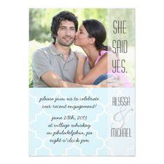 Light Blue Quatrefoil Engagement Party Invitation
