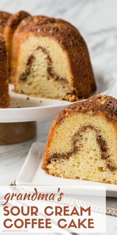This Sour Cream Coffee Cake has a cinnamon walnut streusel topping and inner streusel swirl, just like my Grandma used to make! This Sour Cream Coffee Cake has a cinnamon walnut streusel topping and inner streusel swirl, just like my Grandma used to make! Grandma's Coffee Cake, Coffee Cake Recipe Bundt, Apple Coffee Cakes, Sour Cream Coffee Cake, Sour Cream Pound Cake, Walnut Pound Cake Recipe, Walnut Cake, Coffee Coffee, Easy Cake Recipes