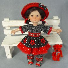 """~ RAZZLE DAZZLE ~ Red & Black SET ~ 8"""" Ten Ping Ruby Red Galleria Riley Kish BJD. SOLD for $71.00 on 5/24/15."""