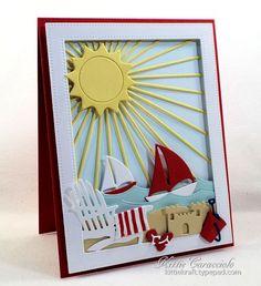 Card by Kittie Caracciolo  (070116)  [Impression Obsession All-In-One Frames - Rectangles 2, Beach Chairs, Mini Beach Fun Set, Sailboat, Single Beach Chair, Starburst Background, Sun & Moon]