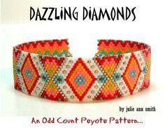 Geometric Abstract Peyote Pattern - Dazzling Diamonds by Julie Ann Smith Designs Odd Count Bead Loom Bracelets, Peyote Beading, Beaded Bracelet Patterns, Bead Loom Patterns, Peyote Patterns, Beaded Jewelry, Crochet Patterns, Beaded Bead, Bracelet Patterns