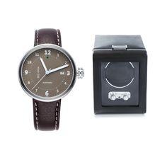 Stinson Brown Leather Watch + Wolf Heritage Winder