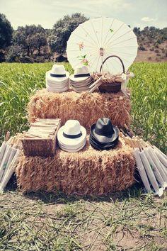 rustic country farm hay bale wedding decor