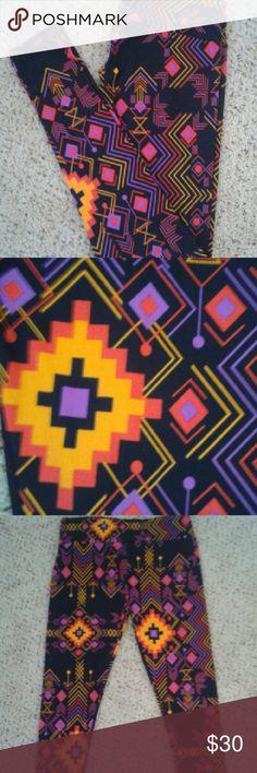 Lularoe TC leggings bright Aztec-like pattern Lularoe TC leggings, bright aztec-like pattern, never worn, black yellow orange purple LuLaRoe Pants Leggings