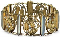 A Wiener Werkstätte gold and moonstone bracelet designed by Carl Otto Czeschka, executed by Stanislaus Teyc, Vienna 1910.