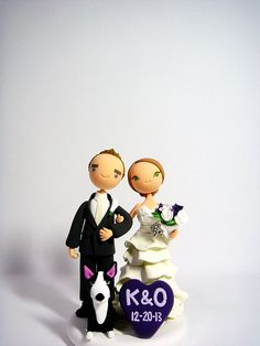 cute couple custom wedding cake topper by Clayphory on Etsy, $145.00