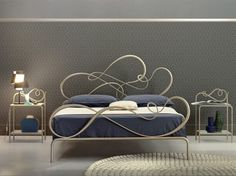 Blues Double-Bed Classic Style Wrought Iron Bed