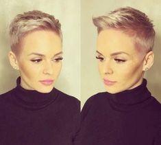 #hairdare Short Sassy Hair, Super Short Hair, Short Grey Hair, Short Hair Cuts For Women, Short Pixie Haircuts, Cute Hairstyles For Short Hair, Hairstyles Haircuts, Short Hair Styles, Pelo Color Gris