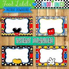 Mickey Mouse Labels or Food Buffet Tags, LindoyUnico, Minnie Mouse Labels or Food Buffet Tags mickey mouse, tent cards, buffet cards, labels red black, invitation, party decor, party ideas, printable, printables, instant download, pdf jpg, mimi, mimmi