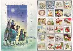 Three wise men advent calendar, a card with a surprise behind each window