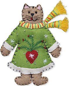 Green Scarf Wool Cat Ornament | Christmas Ornaments | Shaker Workshops