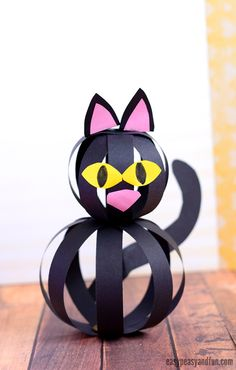 Halloween Cat Craft with Paper Strips