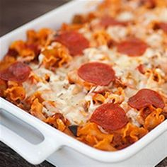 This versatile one-dish pasta bake uses your favorite pizza ingredients like bell pepper, sausage, pepperoni, and olives--and you can use your family's favorite pasta shapes.
