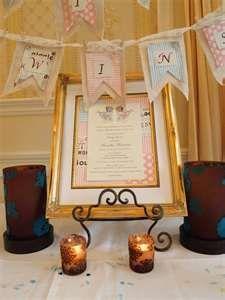 Twin baby shower invitation framed