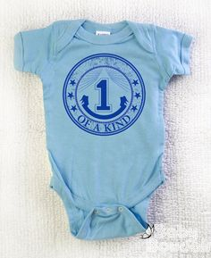 Baby Boy *1st* BIRTHDAY Creeper. ONE Of A Kind. Bodysuit, Romper, One Piece. Light Blue Ringspun Cotton. 1 Of A Kind. First Birthday