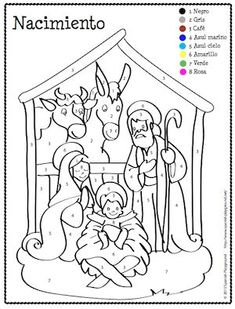 "#Christmas Spanish color-by-number coloring pages to teach colors, numbers and Spanish Christmas vocabulary. #Coloring sheets include traditional seven-pointed star piñata broken during posadas, and nacimiento, or nativity scene, also called ""un pesebre"" or ""un belén."" Post includes #Spanish vocabulary for talking about the images and the traditional Spanish song sung while you try to break the piñata. #free #printables"