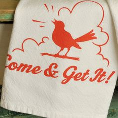 Retro Kitchen Art Towel - Handmade Silk Screen Printed - Original Design - Aunt Marthas Tea Towel - Bright Red and Blue. $20.00, via Etsy.