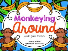 Your kids will love these 5 monkey-themed math games!  All games come in color and b&w.  aAdding doubles;1 more, 1 less; addition to 10; subtraction within 10; greater/less than 30