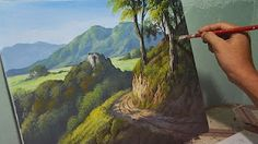 Acrylic Landscape Painting Lesson - Mountain Road by JMLisondra Acrylic Painting Techniques, Painting Videos, Boat Painting, Painting & Drawing, Painting Flowers, Landscape Art, Landscape Paintings, Landscapes, Bob Ross