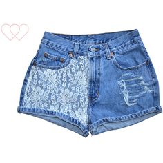 LACE Vintage High Waisted Distressed Denim Shorts ($6) ❤ liked on Polyvore