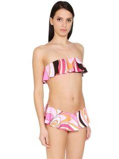 EMILIO PUCCI Ruffled Printed Lycra Bikini, Fuchsia/Orange. #emiliopucci #cloth #swimwear
