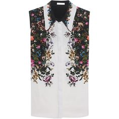 ERDEM Anya Rose Silk White // Sleeveless silk blouse (2.280 BRL) ❤ liked on Polyvore featuring tops, blouses, silk button-down shirts, floral button-down shirts, white button shirt, white silk blouse and white collared blouse