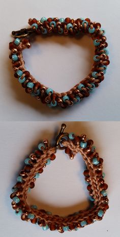 Crocheted Bead Bracelet Copper, turquoise, and brown bead bracelet handmade by Meander Canyon Crafts. Copper tone toggle clasp. Size small – 7 inches.