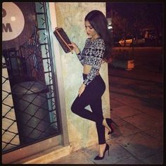 high heels shoes black cute outfit black and white shirt black and white crop tops black jeans jeans skinny jeans red bottom heels christian louboutin sale christian louboutin louis vuitton pattern outfit of the day outfit idea pointed toe heels