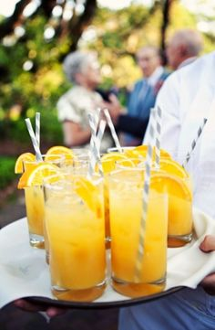 Cocktail hour. I like the idea of a bright signature drink with some fun straws. #weddings