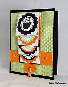 Not a fan of the colors, but want to try out this technique. No instructions connected to this link Fancy Fold Cards, Folded Cards, Up Halloween, Halloween Cards, Cascading Card, Waterfall Cards, 3d Cards, Card Tutorials, Homemade Cards