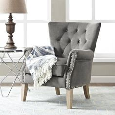 Better Homes and Gardens Rolled Arm Accent Chair, Multiple Colors, Gray